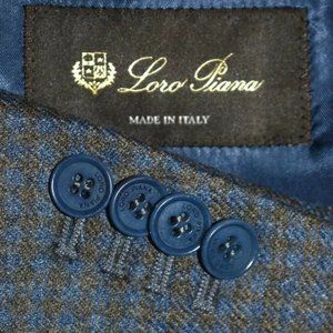 $2500 50R Loro Piana Mainline Blue Gray Tweed COAT
